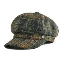 VOBOOM Tweed de lana casquillo del vendedor de periódicos de la mujer  grande a cuadros verde 1c9bbbc25fb