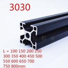 1 шт. черный 3030 Европейский стандарт анодированный алюминиевый профиль Экструзия 100-800 мм Длина линейной рельсы для ЧПУ 3d принтер
