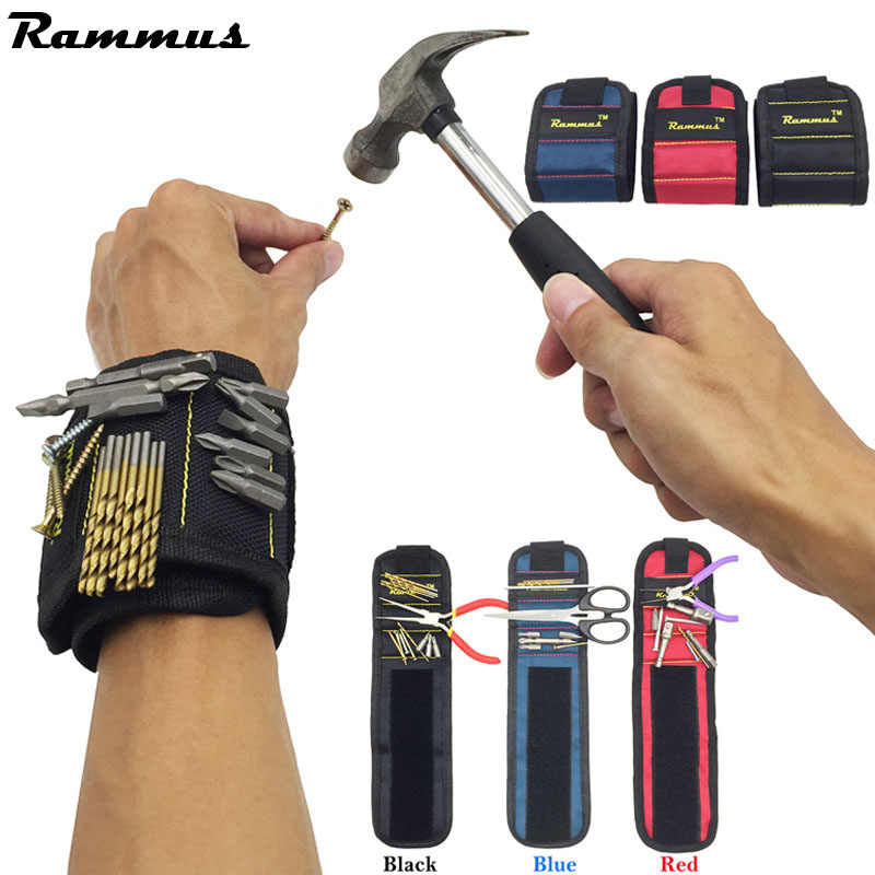13.8'' Wrist Support Strong Magnetic For Screw Nail Holder Wristband Band Tool Bracelet Belt Support Protection Kit 3 Grids