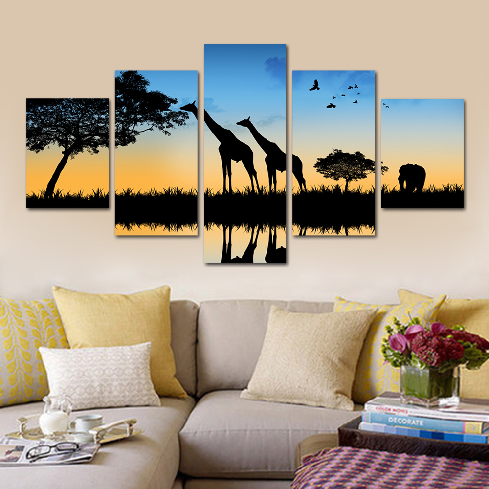 Unframed HD Print 5 Canvas Art Painting Evening Giraffe Living Room Decoration Animal Spray Painting Mural Free Shipping