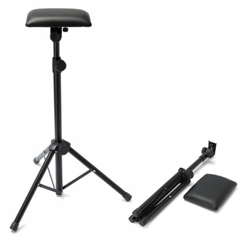 1pc Portable Tattoo Arm Rest Black Iron Stand Leather Adjustable Tattoo Arm Leg Rest Tripod Stand