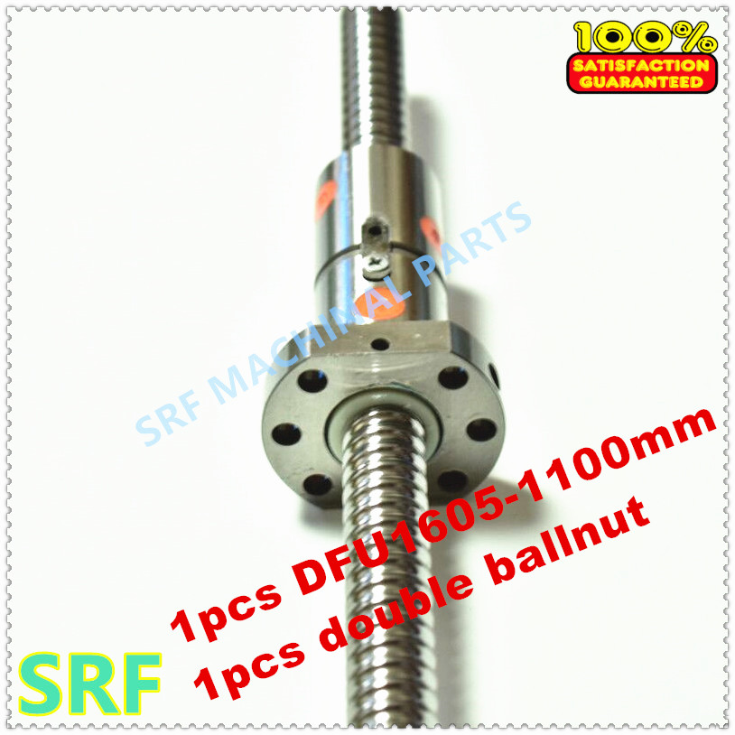 16mm Dia Ballscrew RM1605 set:1pcs 1605 Rolled ball screw L=1100mm C7 +1pcs Double Ball nut without end machined hiwin 1616 ballscrew 600mm c7 dia 16mm pitch with end machined and ball nut for cnc kit parts high speed