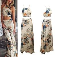 Dress Printed High Slit 1X Female 2 Piece Set Floral 1 Set Summer Long Dress