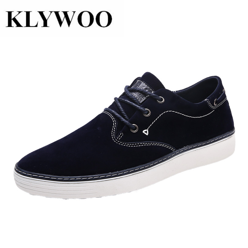 KLYWOO Big Size 39-46 Mens Casual Shoes Suede Leather Lace up Brand Luxury Breathable Men Shoes Leather Men Fashion Sneakers fashion pointed toe lace up mens shoes western cowboy boots big yards 46 metal decoration