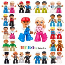 Single Sale Big Size Building Blocks Compatible for Legoed DUPLOed Family Worker Police Bricks Action Figures Toys Kids Gifts(China)