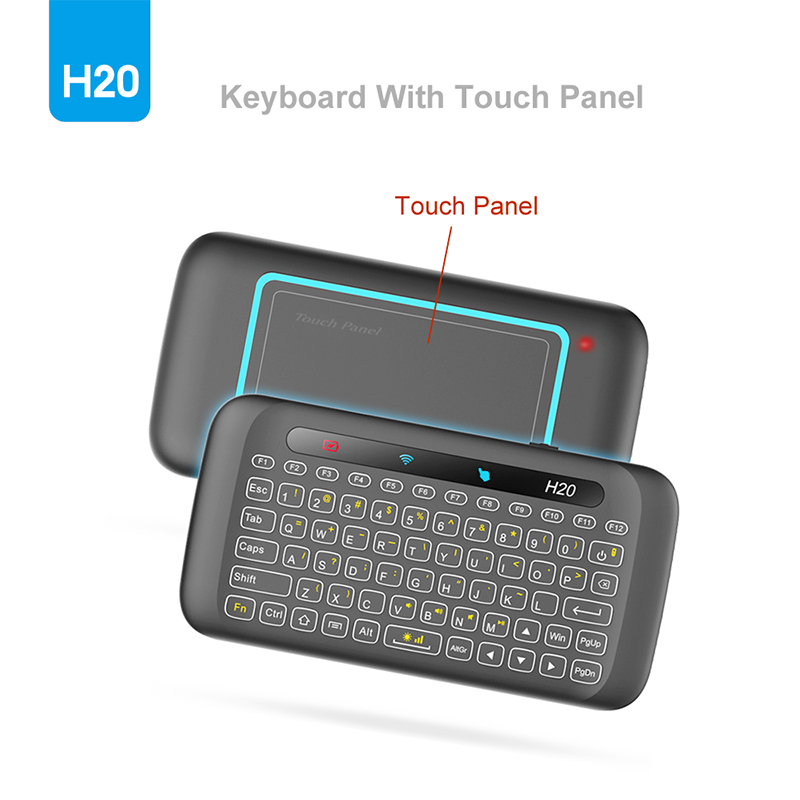 New H20 2.4G Wireless Backlight Mini Keyboard Touchpad Remote Control for PC Laptop Mac OS Android TV Box Windows for RPI 1 pc new replacement tv remote control for samsung ak59 00172a for dvd blu ray player bd f5700 without battery
