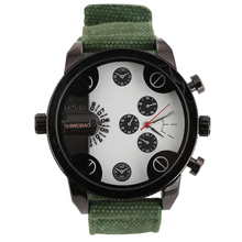 Shiweibao Men Luxury Military  Doulbe Movement Stainless Steel Analog  Sport Quartz Wrist Watch Canvas Strap