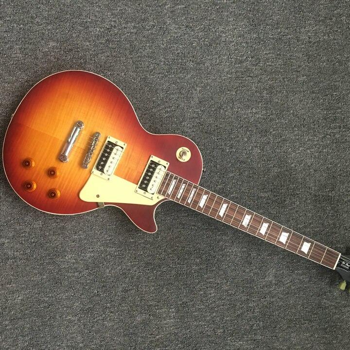 Custom Shop Lp standard guitare électrique mat cherryburst couleur LP guitare 59 version rayé placage d'érable