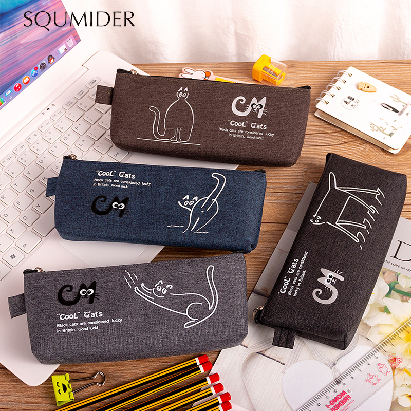 SQUMIDER Kawaii Pencil Case Cartoon Pencil Box Zipper Large Bag For Student Gift Cute School Stationery Supplies
