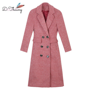 Autumn Winter Women Outerwear 2018 Fashion New Double-Breasted Loose Female Windbreaker Medium Long High-End Ladies Trench Cw395