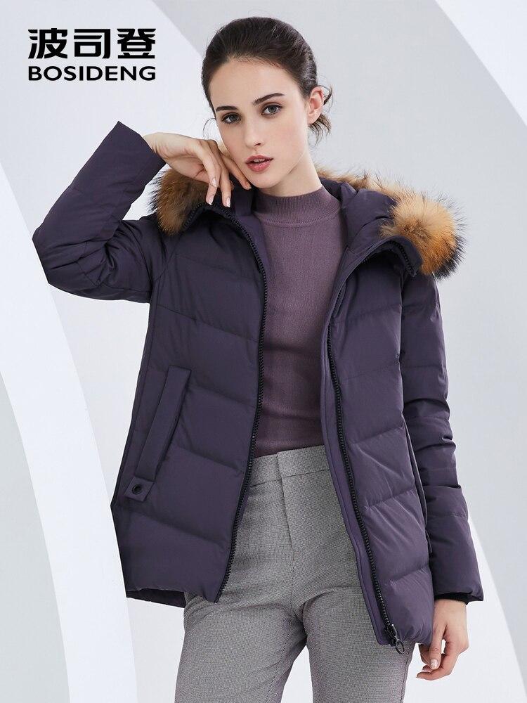 BOSIDENG ผู้หญิงลงเสื้อแจ็คเก็ตหญิงฤดูหนาวใหม่จริงขนสัตว์ hooded หลวมลง coat plus ขนาดสั้น parka B80141032B-ใน เสื้อโค้ทดาวน์ จาก เสื้อผ้าสตรี บน   1