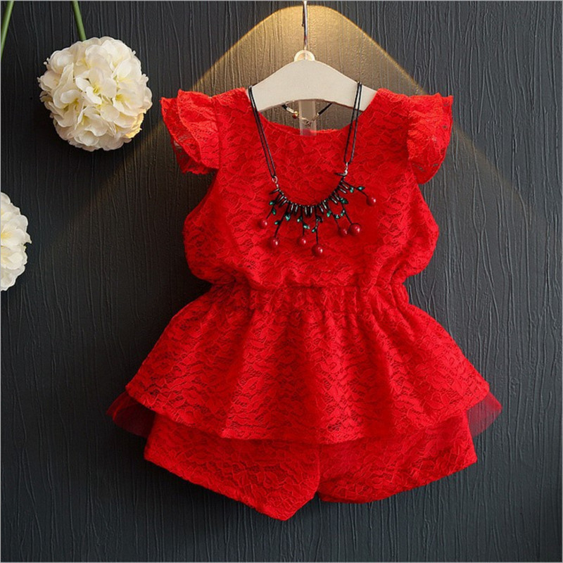 Girls Clothing Set Girl Summer Clothes Twinset Suit 2018 New Fashion Red Lace Short Sleeve +Shorts Clothing Suits For 90-130 2018 new party girls clothing set girl