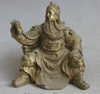 Chinese Brass Seat Guan Gong Yu Warrior God Read Book Wear Dragon Robe Statue