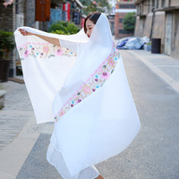 24pcs Vintage Embroidery Women Scarf Scarves Silk Scarf Tassel Printed Ladies Shawls Wraps Lady Floral Bandana Female Scarves