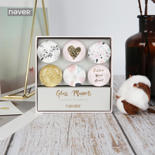 Never Creative Glass Magnets Fashion Magnet Thumb Tack Pin Stickers For Whiteboard Stationery Office Decoration 6pcs/Set
