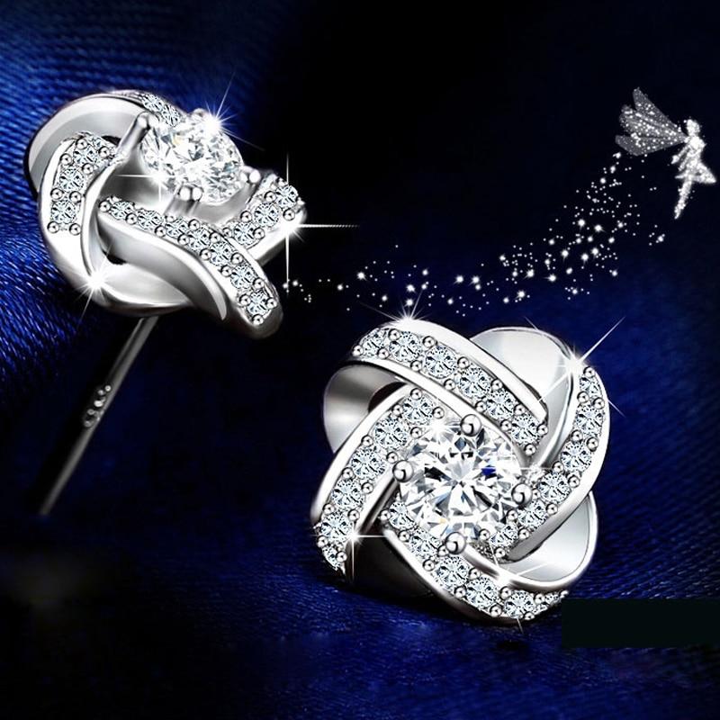 DIEERLAN 19 Bridal Jewelry Sets 925 Sterling Silver Crystal Cross Clover Flower Necklaces for Women Wedding Jewelry Bijoux 16