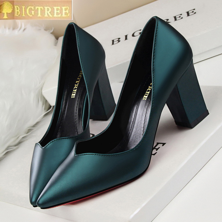 Women Pumps Comfortable Thick With High Heel 8CM Leather Temperament Shallow Mouth Pointed Hollow Out Single Woman Shoes