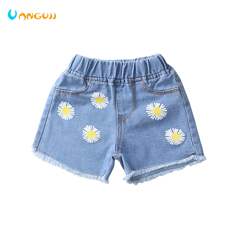 girls shorts printed flower denim shorts hot sale fashion Straight pants wash pocket jeans Sports and leisure all match cute