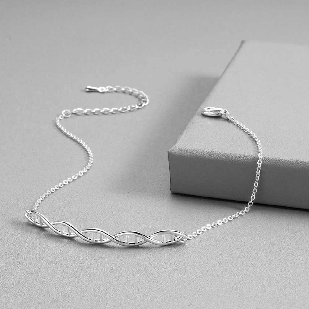 Pulsera geométrica del encanto del DNA de QIMING para las mujeres joyería de la química del oro que gira la molécula de la biología Pulseras de Moda regalo