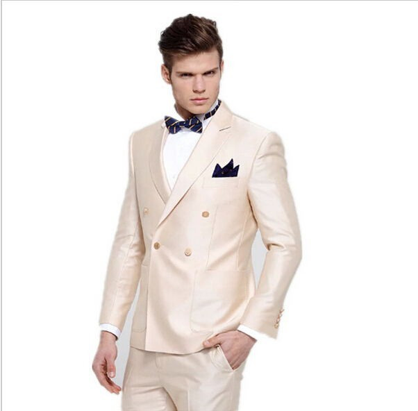 Ivory Notch Lapel Double Breasted Suits Custome Homme Fashion