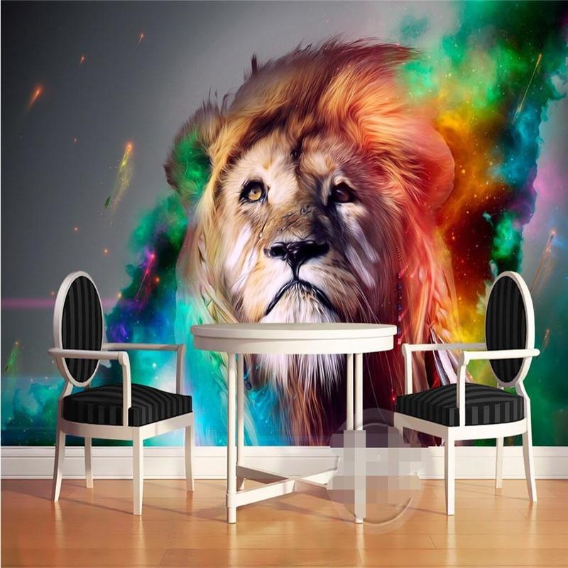 Wandpanelen 3d Muur Papier Hand gekleurde leeuw fotografie ...