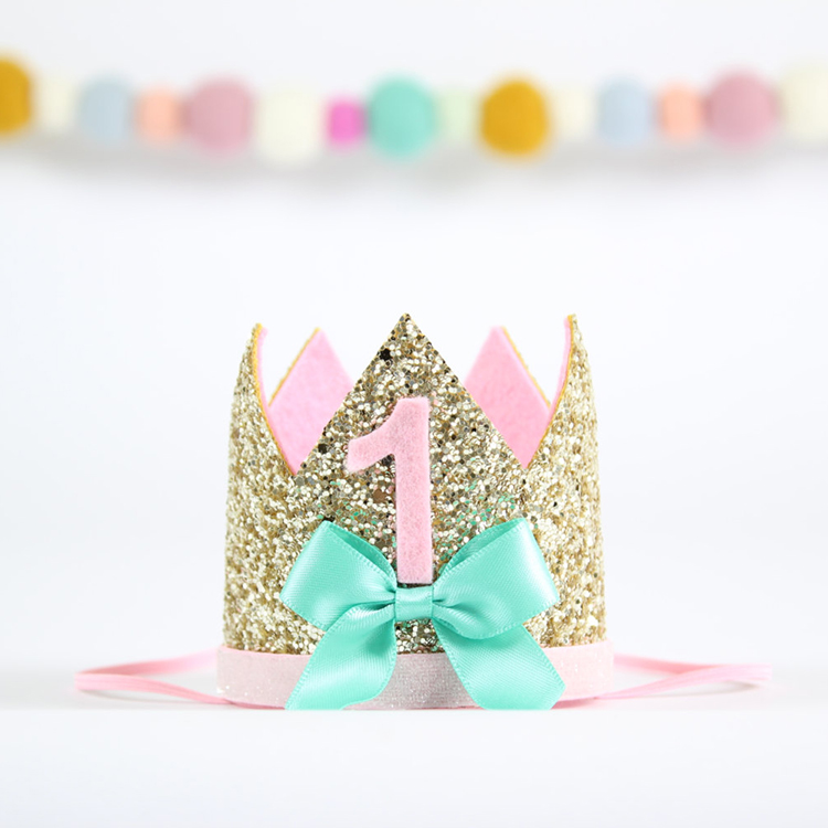 1Pcs 1 Year Old Birthday Cap Party Supplies Baby Princess Hats Crown Flash Powder Pink Bows Hair Band Decorations In From Home
