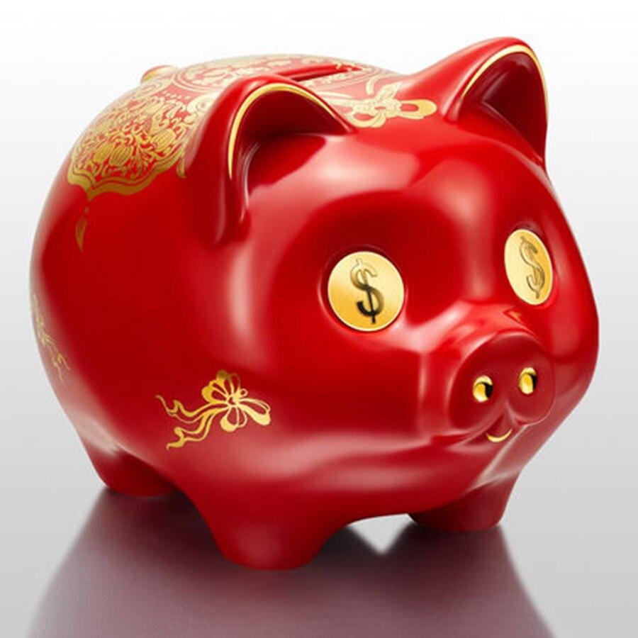 Red Pig Ceative Piggy Bank Cartoon Ceramic Piggy Saving Box Coins Safe Money Sparkasse Salvadanaio Secret Pig Coin Bank M5B005