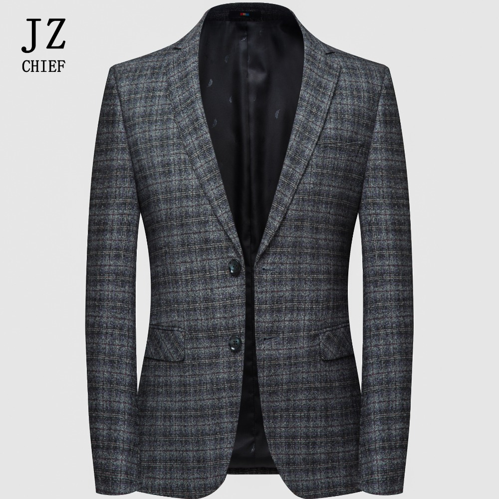 Hommes Costume Élégant Blazers Business Dark Casual Vestes Plaid Slim De Blazer Mariage Tweed Gray Manteau Fit Veste Designs SEqxdRqr