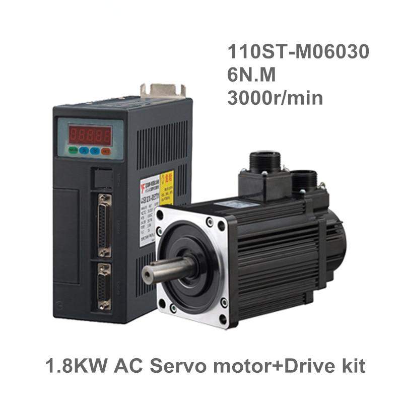 1.8KW AC Servo Moteur 6N. M 3000 rpm 110ST-M06030 AC Moteur + Assortie Servomoteur Moteur Pilote + 3 M Câble Moteur Complet kits Haute Qualité