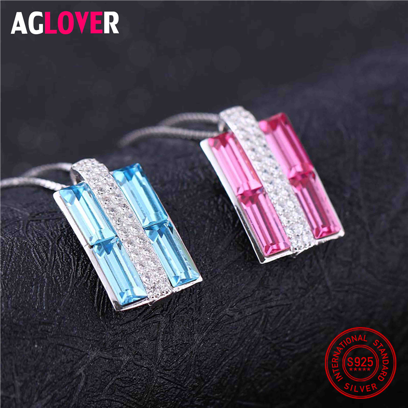 925 Sterling Silver Gift Brand Charm Women Austrian Crystal Square Pendant Necklace Fashion Jewelry Accessories in Necklaces from Jewelry Accessories