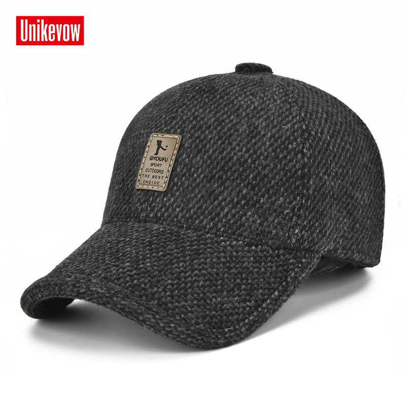 UNIKEVOW New arrivel Sport winter   baseball     caps   with ears Casual winter hat warm   caps   for men golf hat