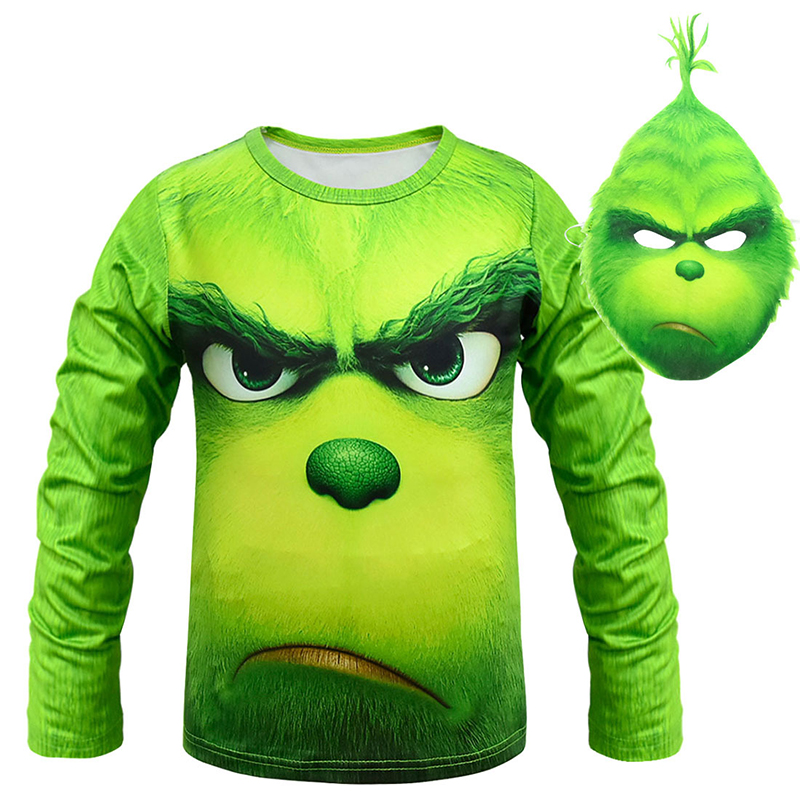 New Green Role Playing T-Shirt Costume Boy Halloween Christmas Carnival Long Sleeve Costume for Kids Mask Boy Street Costume