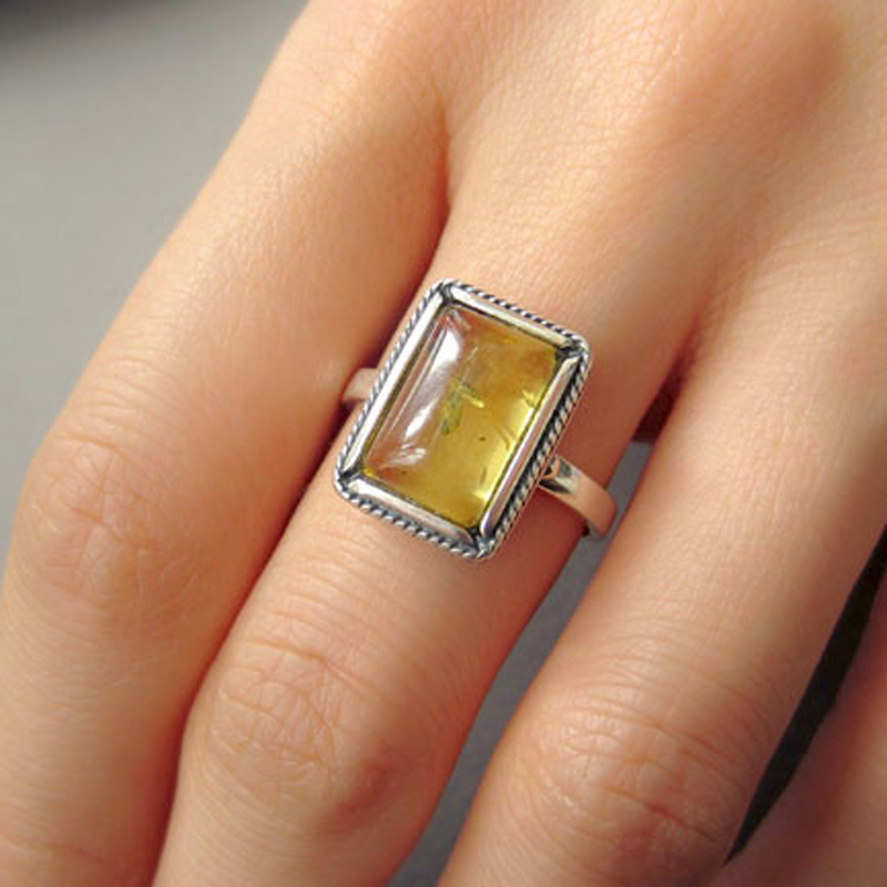 Yoowei Natural Amber Rings for Women Pure 925 Silver Golden Cognac Vintage Ring Rectangle Geometric Baltic Amber Jewelry Anillos