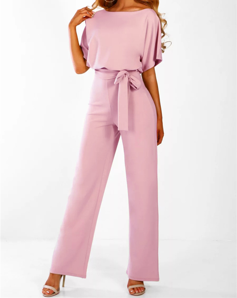 2019 Summer Jumpsuit Women Short Sleeve Elegant Jumpsuits Long Pants Casual Work Romper Autumn Office Lady Bodysuit Overalls 3XL