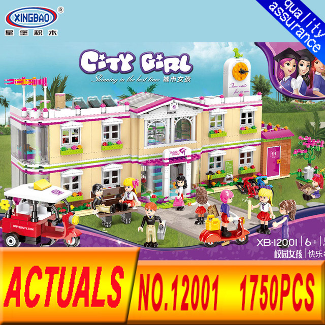 XINGBAO 12001 New City Girl Series The Happy Teaching Building Set 1750Pcs Building Blocks Kits Brick Toys for Kids Gifts the girl with all the gifts