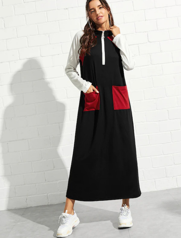Spring Cotton Dress Teenagers Students Sport Long Dress Young Girl Casual With Pockets Zipper Patchwork Dress 89