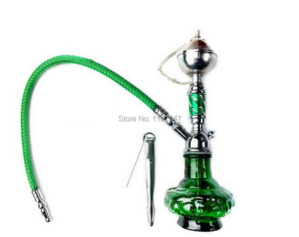 Buy Hot Hookah Silver + Green Mini Portable Water smoking ...