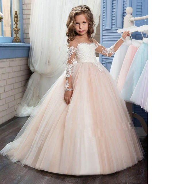 9208e992ee22 New Style Princess Girl Shoulderless Long Sleeve Sequined Floral Ball Gown  Party Dresses One Piece Daily