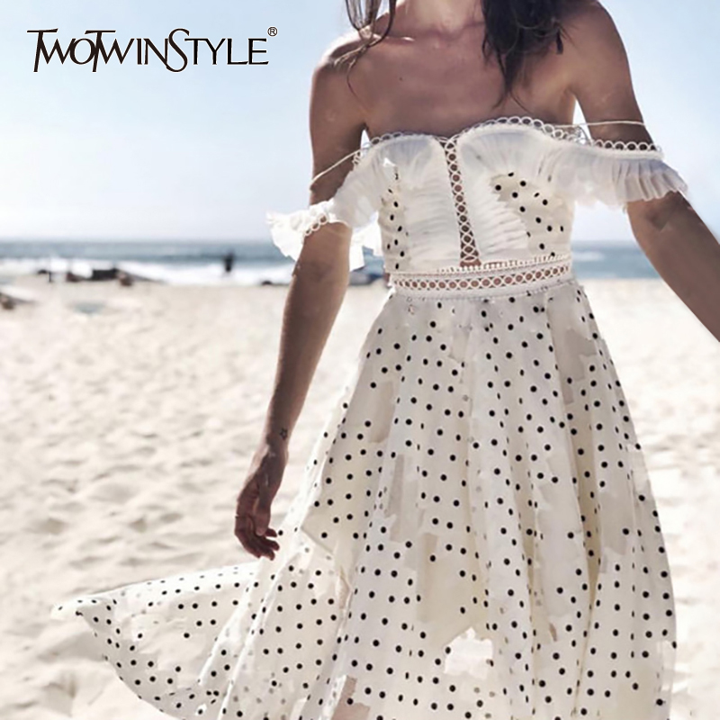 TWOTWINSTYLE Polka Dot Women Suit Strap Off Shoulder Hollow Out Short Sexy Tops High Waist Irregular
