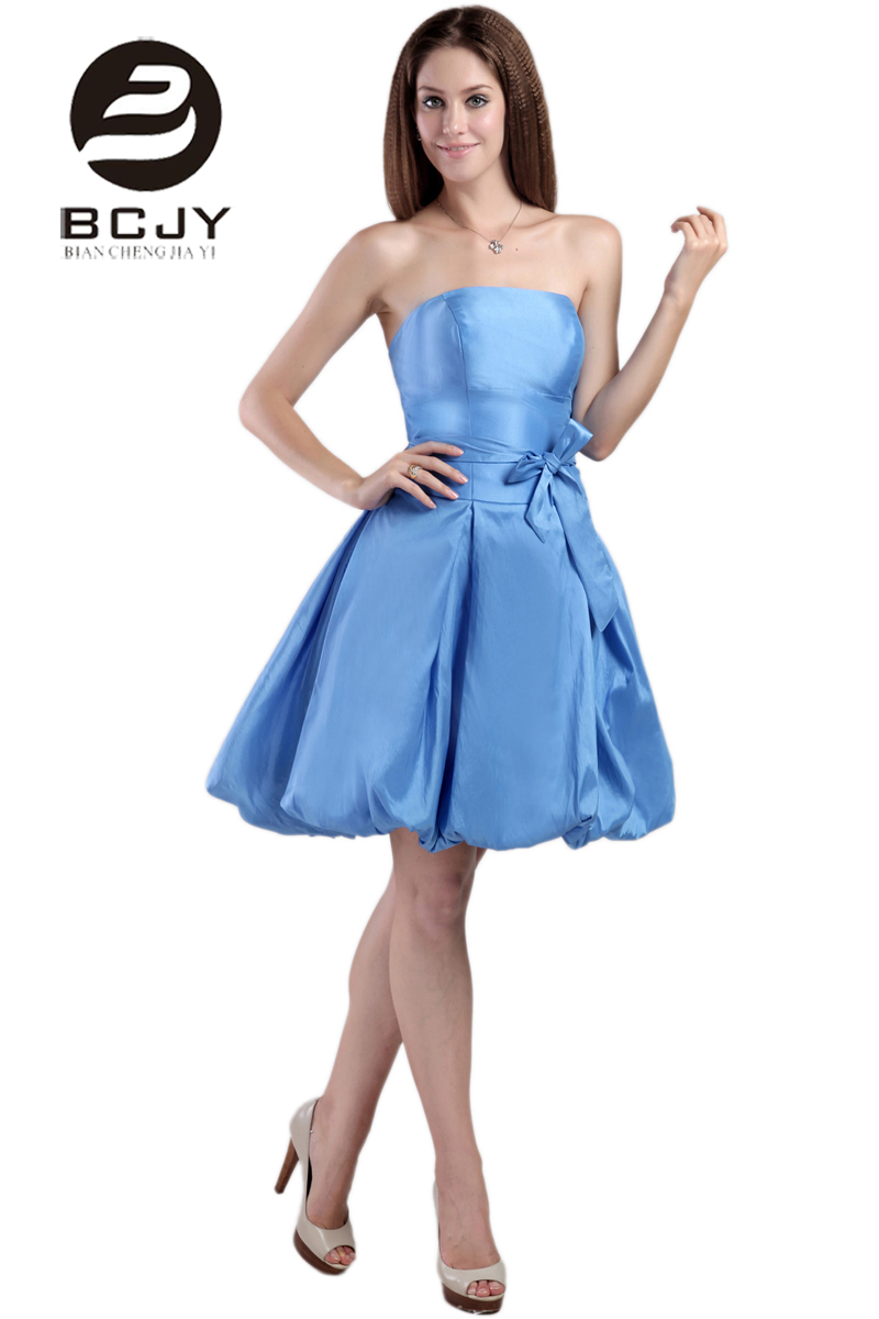 Latest Design 2019 Short Prom Dresses Strapless Ruched Beaded A Line Knee Length Blue Prom Gowns Party Gowns with Sashes