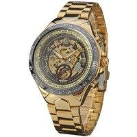 2017 New Fashion Men Mechanical Watch Winner Golden Top Brand Luxury Steel Automatic Classic Skeleton Wristwatch