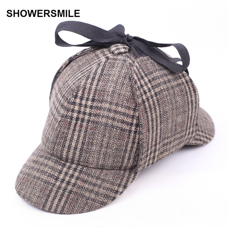 SHOWERSMILE Sherlock Holmes Hat Deerstalker Tweed Cap Costume Accessories Detective Hat Earflap Unisex Flat Caps Hot Selling