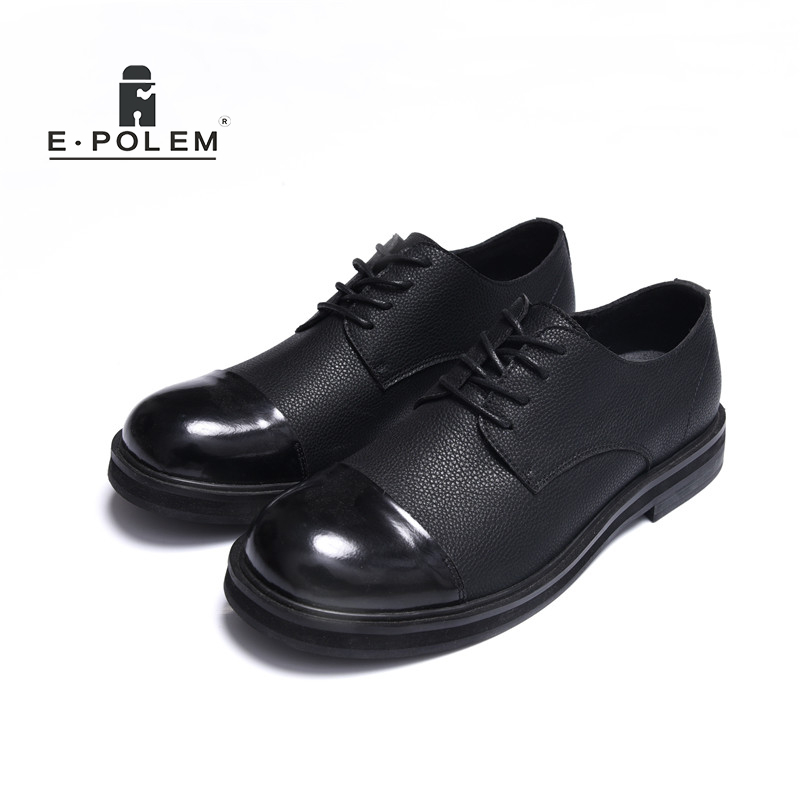 Retro England Male Shoes Stitching Casual Men Black PU Leather Lace-up Round Head Vintage Fashion Catwalks