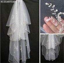 Nixuanyuan Фата 2018 новое кольцо покрывал для невесты край Кристалл бисера свадебная фата veus De Noiva собор свадебная фата