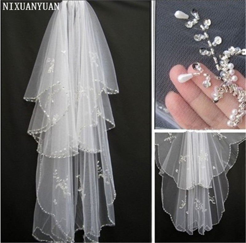 NIXUANYUAN Bridal Veil 2019 New Hotsale Veils For Bride Edge Crystal Beaded Wedding Veil Veus De Noiva Cathedral Wedding Veil