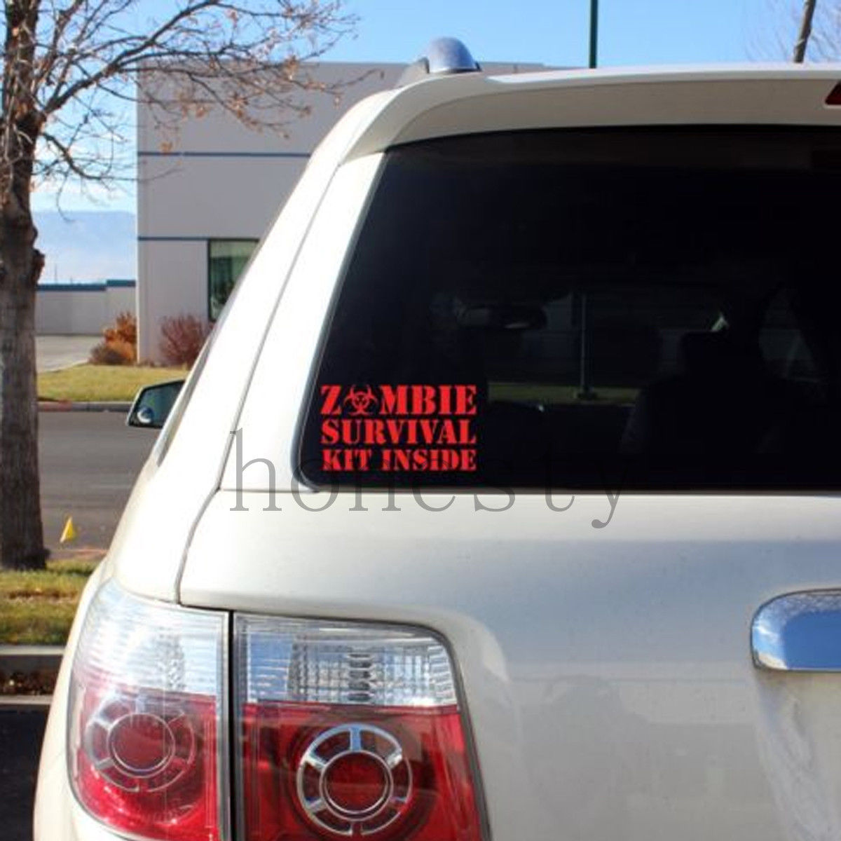 bloody zombie survival kit inside print pattern car window winscreen wall bumper decal vinyl sticker halloween decoration gift