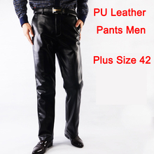 Black Leather Pants Men PU Leather Pants Men Thicker Faux Leather Trousers Men Fashion Leather Trousers Men 2016 Free Shipping