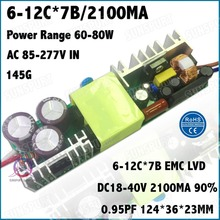 2 Pcs By TUV-EMC LVD 80W AC85-277V LED Driver 6-12Cx7B 2100mA DC18-40V Constant Current LED Power For Floodlight Free Shipping