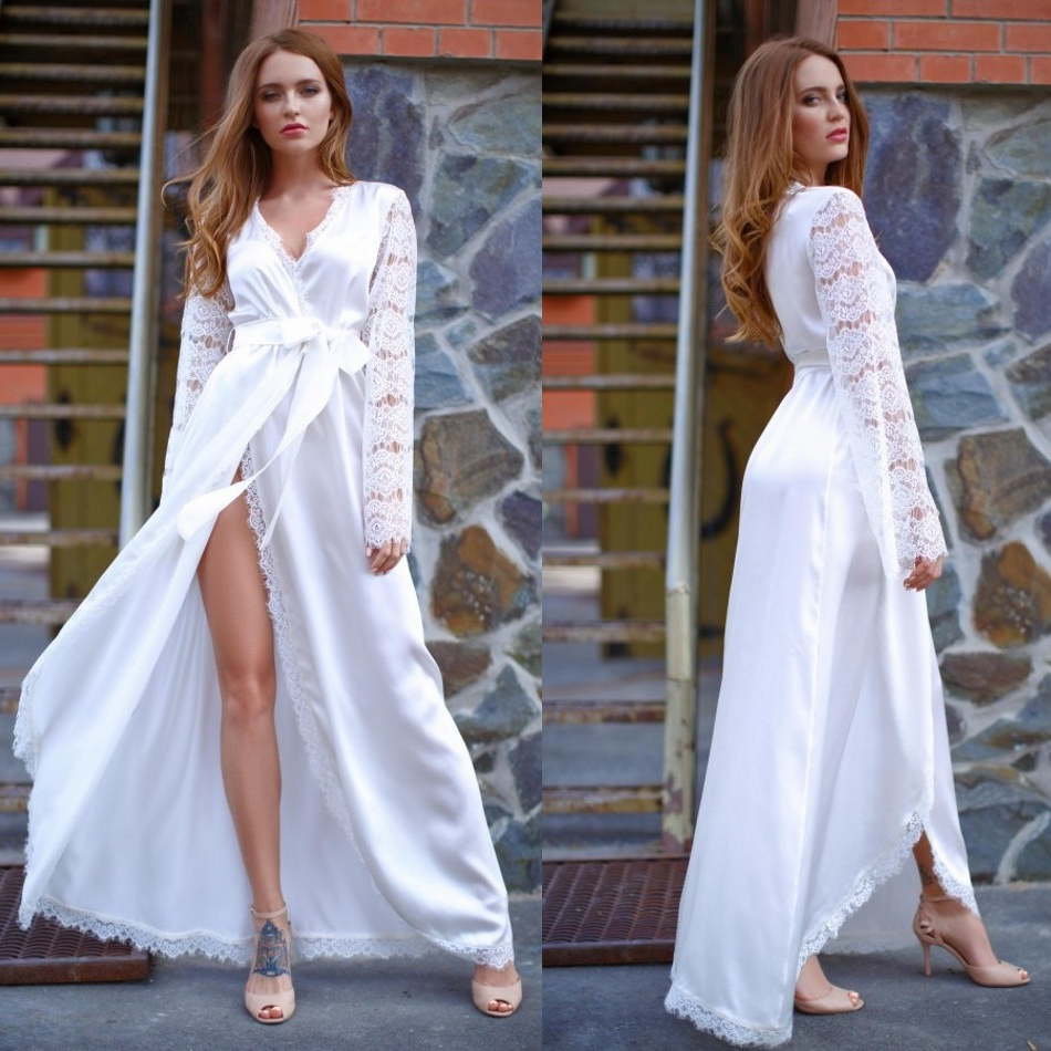 Custom Made Sexy Night Robe Lace Long Sleeves Floor Length Bathrobe