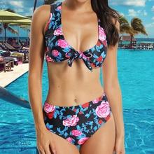 Women Sexy micro Bodysuits Floral Print Two piece Swimsuits High Waisted Push Up crochet bikini Bathing Suit Beach Swimwear